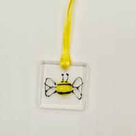 Bee fused glass hanging decoration
