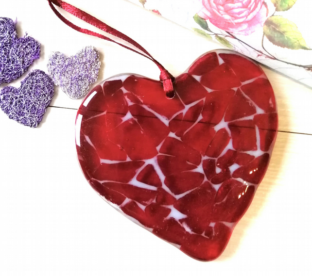 Fused glass red heart