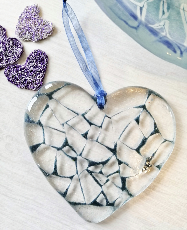 Blue cracked glass effect , fused glass heart