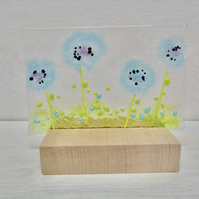 Cornflower picture on wooden stand