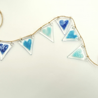 Fused glass bunting blue