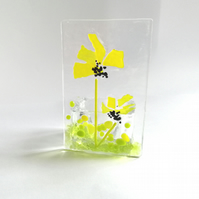 Yellow daisy fused glass tealight holder