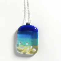 Fused glass seaside necklace