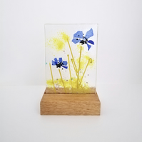 Blue fused glass cornflower picture