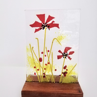 Fused glass poppy picture