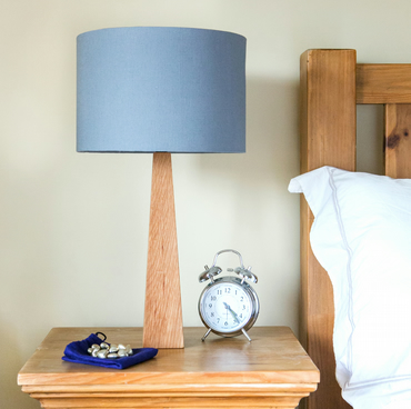 Steel Grey Oak Table Lamp