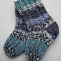 hand knit wool baby socks, 0-3 months