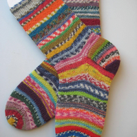 hand knit womens wool crazy socks UK 4-6