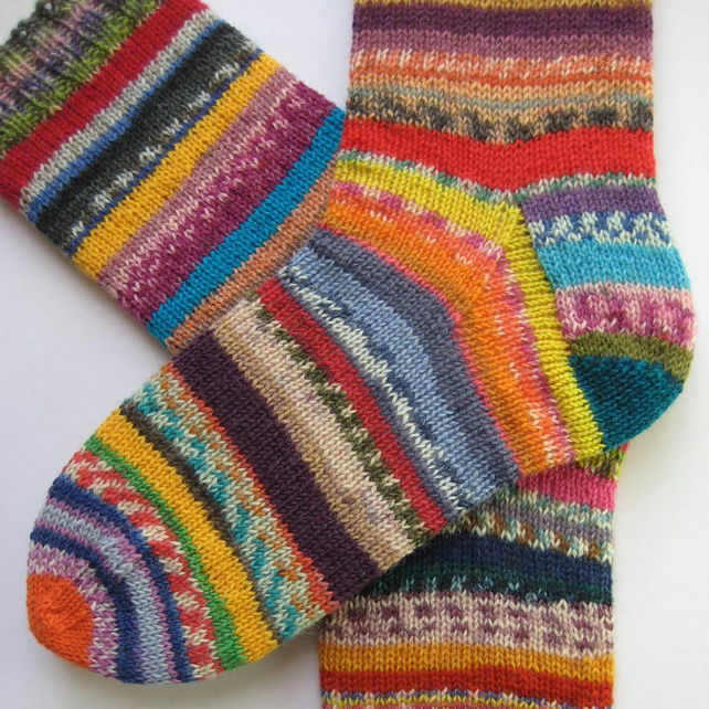 hand knit womens wool socks UK 6-8