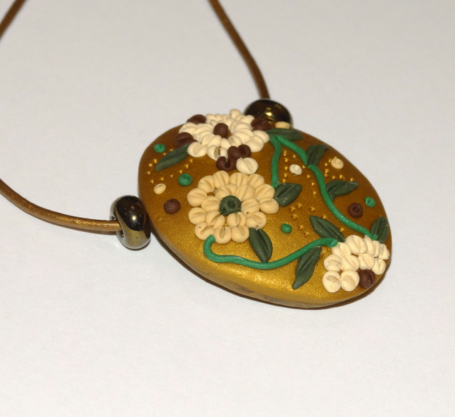 Chrysanthemum Oval Pendant