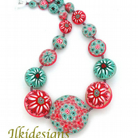 Pink & Green Flowers Necklace