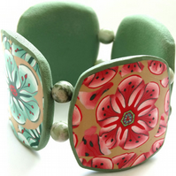 Green and Red Flower Cuff