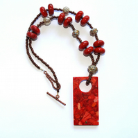 Sponge Coral Tag Pendant Necklace