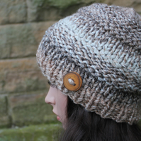 Hat chunky knit womens beige, knitwear, gift ideas