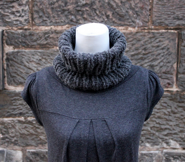 Knitted chunky cowl snood poloneck dark gray, gift guide, unisex neckwear