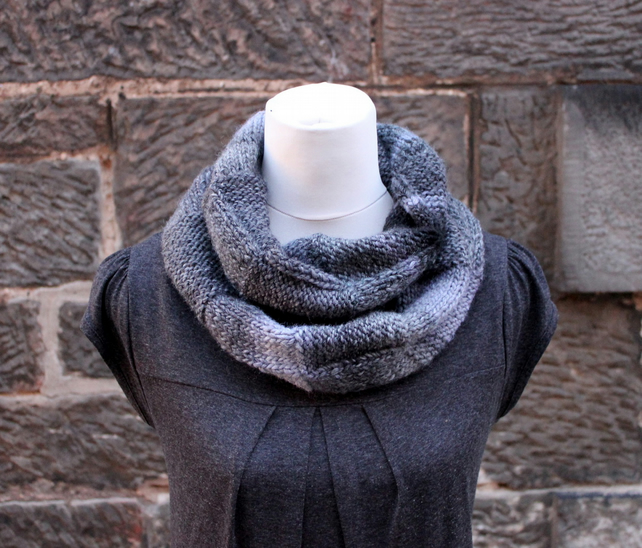 Grey melange infinity scarf, knitwear UK, gift guide