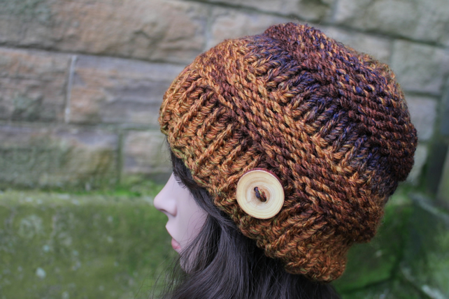 Hat chunky womens multicolour brown, knitwear UK