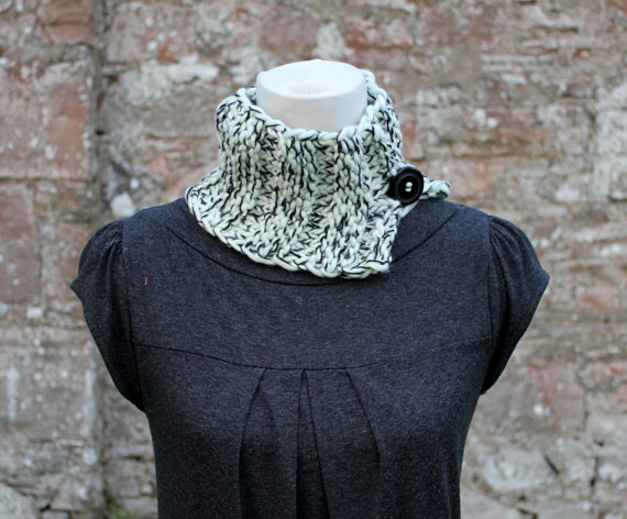 Collar black and cream knitted chunky, knitwear, gift for her