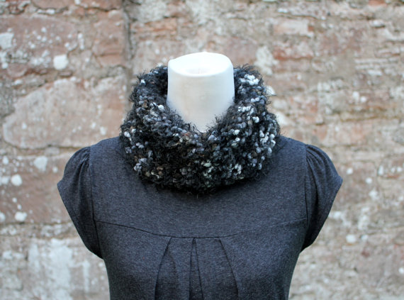 Black cowl snood knitted chunky, knitwear, gift for her