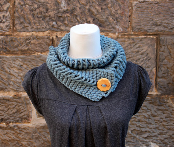 Blue chunky knitted lace button scarf, neckwear, gift guide, knitwear UK