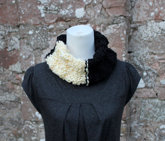 Cowl chunky knitted black and ivory, knitwear, gift for her