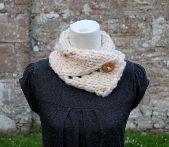 Collar soft natural knitted chunky, knitwear, gift for her