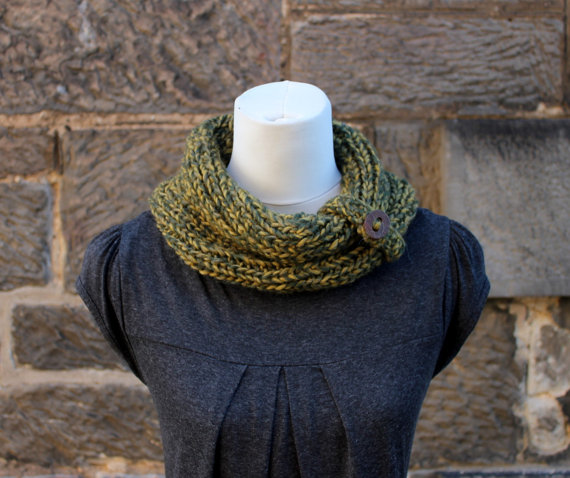 Green forest cowl snood, knitwear, gift for her