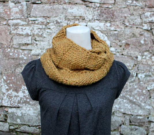 Mustard loop scarf snood, neckwear, gift guide, knitwear UK