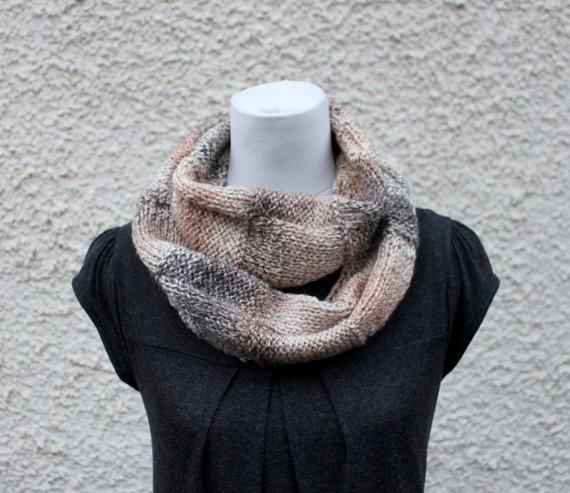 Womens scarf snood, beige neckwear, gift guide, knitwear UK, vegan