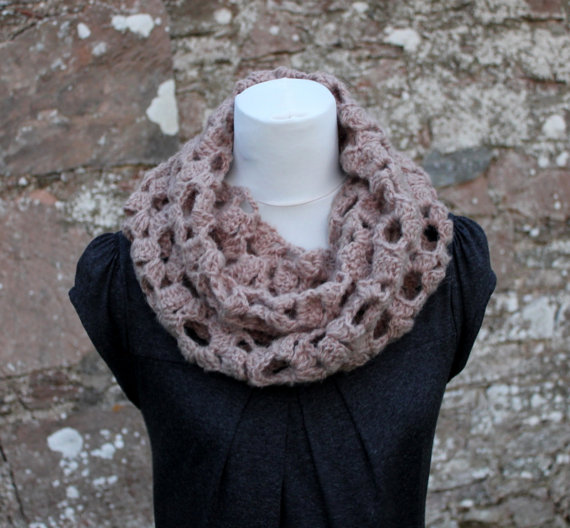 Womens scarf snood, mink neckwear, gift guide, knitwear UK