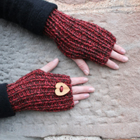 Knitted mittens, fingerless gloves red, womens valentine gift, knitwear UK