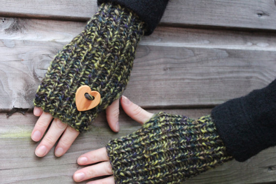 Knitted mittens, fingerless gloves green, womens valentine gift, knitwear UK