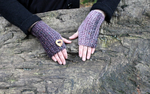 Purple mittens, fingerless gloves, womens valentine gift, knitwear UK