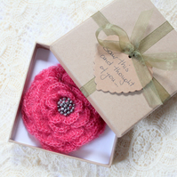 Mohair flower brooch, corsage, small gift for her, handmade UK
