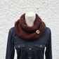 scarf snood brown knitted,womens neckwear, gift guide, knitwear UK, vegan