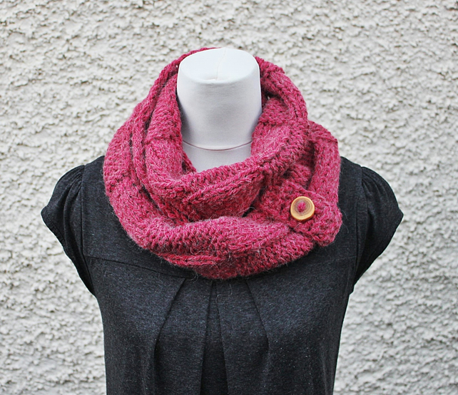 Dusky red loop scarf snood, neckwear, gift guide, knitwear UK