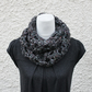 Womens lace circle scarf snood, neckwear, gift guide, knitwear UK, vegan