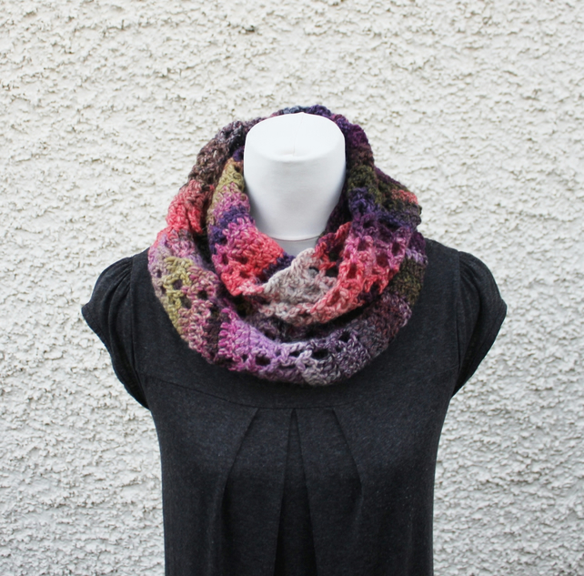 Infinity scarf, womens purple haze snood, gift for her