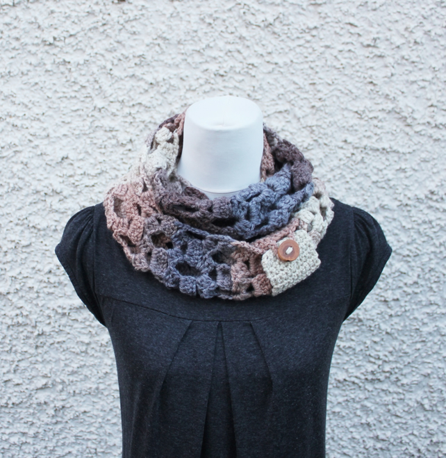 scarf womens beige, snood, knitwear Christmas, infinity scarf with button cuff