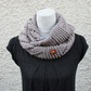 womens infinity scarf, knitwear UK, gift guide, neckwear, snood pastel clay