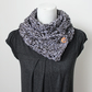 Gray button scarf snood, neckwear, gift guide, knitwear UK, vegan, womens