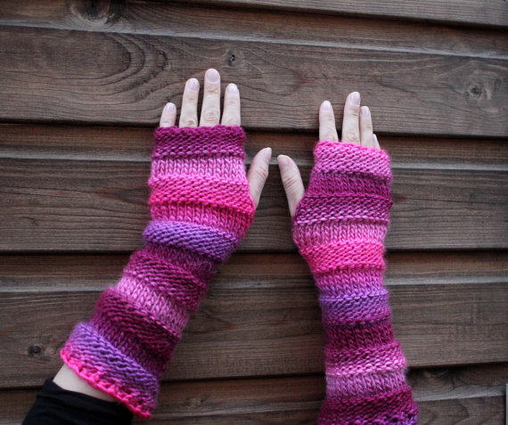Pink Arm warmers, fingerless gloves, long mittens, knitwear UK, gift for her
