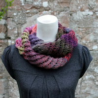 scarf knitted, womens purple scarf snood, knitwear UK, gift guide, neckwear