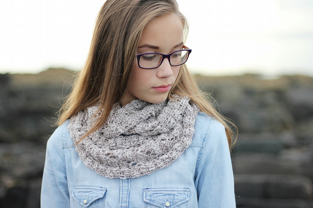 Knitted Opium infinity scarf cowl for women and teens