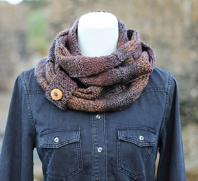 Soft brown scarf, cowl, snood,