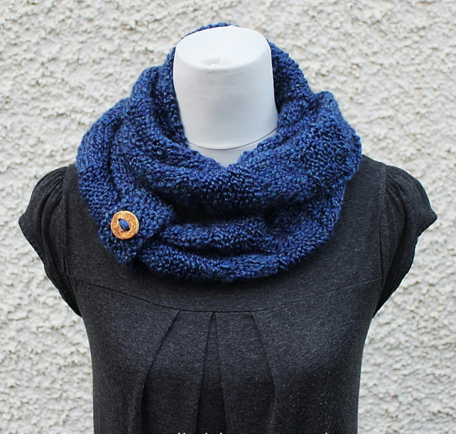 blue infinity scarf, womens snood, neckwear, vegan friendly, gift for her