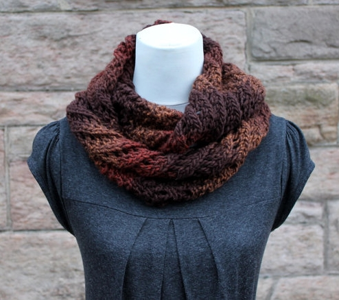 Knitted infinity scarf, cowl, snood