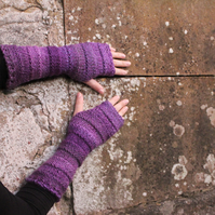 Fingerless gloves, mittens, purple arm warmers