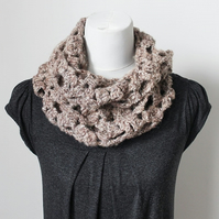 Beige womens lace circle scarf snood, neckwear, gift guide, knitwear UK, vegan