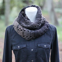 Knitted infinity scarf, cowl, snood, dark multicolour